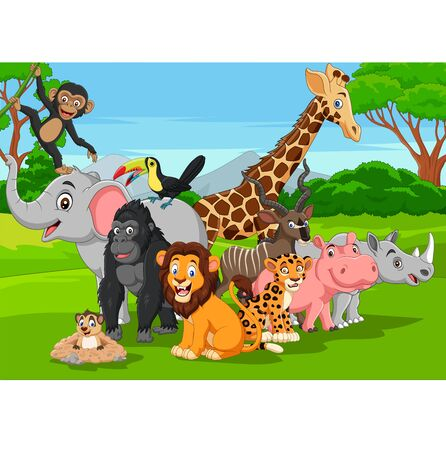 Vector illustration of Cartoon wild animals in the jungle Banque d'images - 130114178