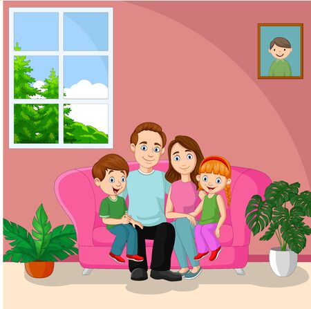 Vector illustration of Happy family sitting on sofa