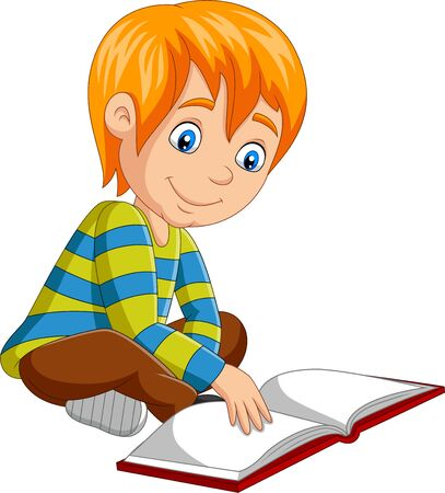 Vector illustration of Cartoon little boy reading open book sitting on floor Çizim