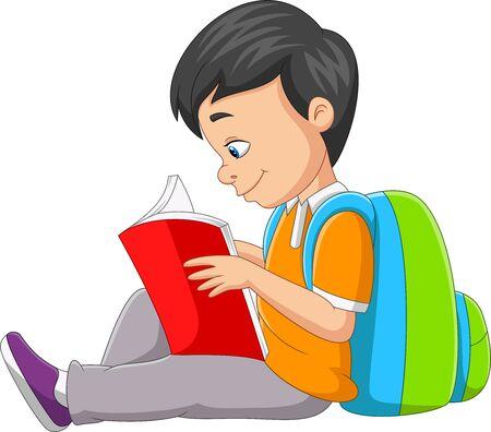 Vector illustration of Cartoon little boy reading a book Illusztráció