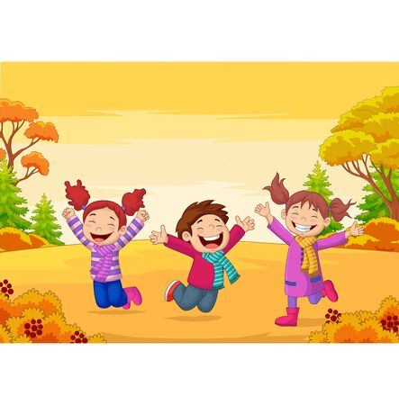 Vector illustration of Happy children jumping on autumn background