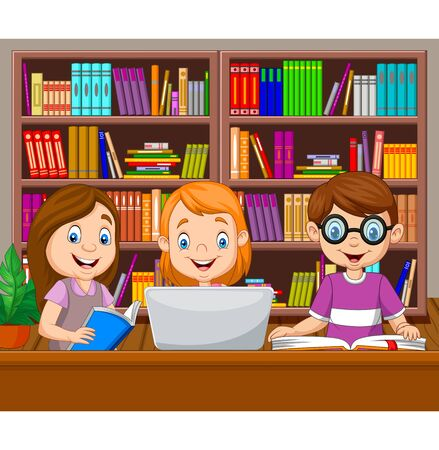 Vector illustration of Cartoon kids studying in the library Stock Illustratie