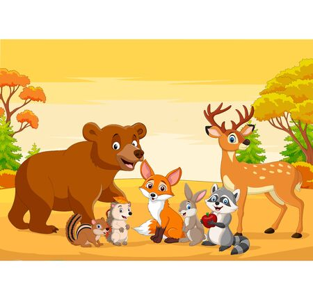 Vector illustration of Cartoon wild animals in the autumn forest