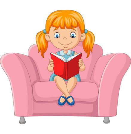 Vector illustration of Cartoon little girl reading a book sitting on sofa