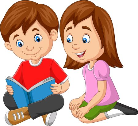 Vector illustration of Cartoon boy and girl reading book Çizim