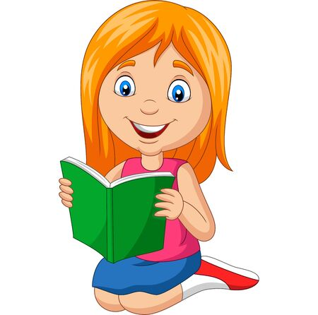 Vector illustration of Cartoon little girl reading a book