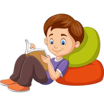 Illustration vectorielle de garçon de dessin animé lisant un livre