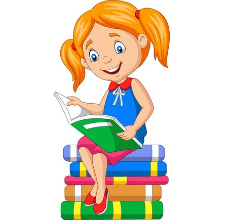 Vector illustration of Cartoon little girl reading a book on the pile books Иллюстрация