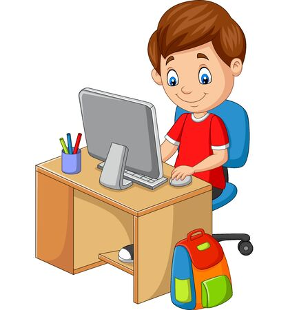Vector illustration of Little boy with personal computer