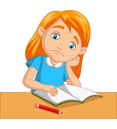 Vector illustration of Little girl bored studying homework
