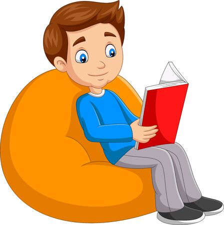 Vector illustration of Young boy reading a book sitting on big pillow