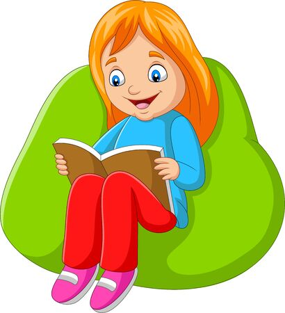 Vector illustration of Little girl reading a book sitting on big pillow Stock Illustratie