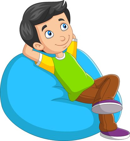 Vector illustration of Cartoon little boy relaxing on sofa