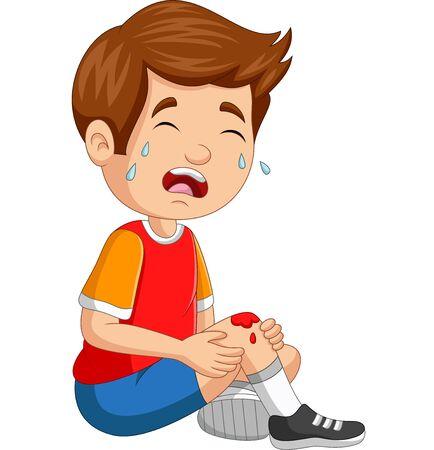Vektorillustration des kleinen Jungen der Karikatur, der mit aufgeschabtem Knie weint