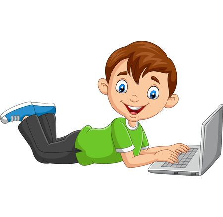 Vector illustration of Cartoon boy operating laptop laying on floor
