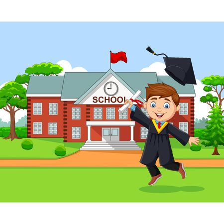 Vector illustration of Cartoon graduation boy in front of school building