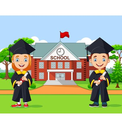 Vector illustration of School kids graduation in front of school building Ilustração