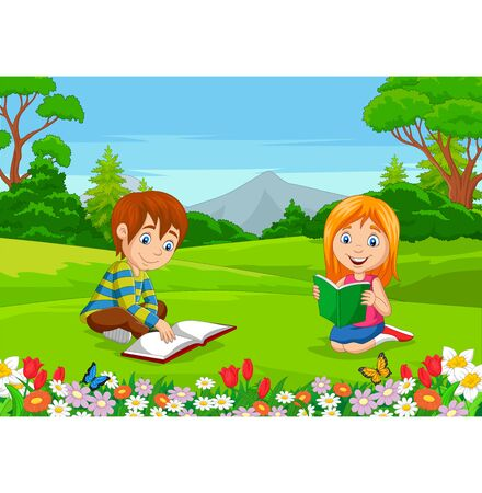 Vector illustration of Cartoon boy and girl reading books in the park
