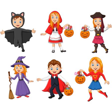 Vector illustration of Group of cartoon kids wearing different costumes