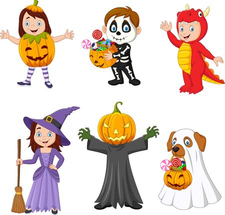 Vector illustration of Cartoon happy kids with Halloween costume