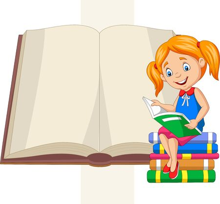 Vector illustration of Little girl reading books sitting on pile of books
