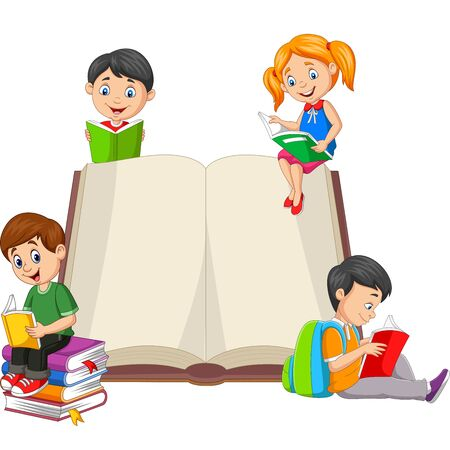 Vector illustration of Group of children reading a books