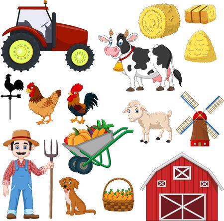 Vector illustration of Set of farming cartoon on a white background