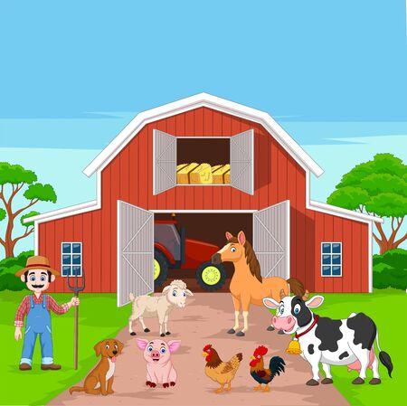 Illustrazione vettoriale di Cartoon agricoltore e animali da fattoria nel cortile
