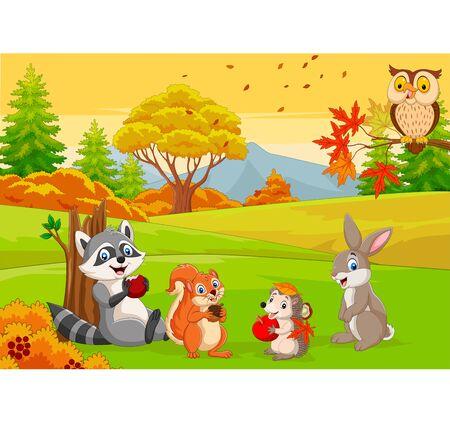 Vector illustration of Cartoon wild animals in the autumn forest Vektorgrafik