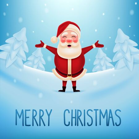 Vector illustration of Santa Claus standing in the snow