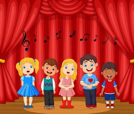 Vector illustration of Children performing singing on the stage Vektorové ilustrace