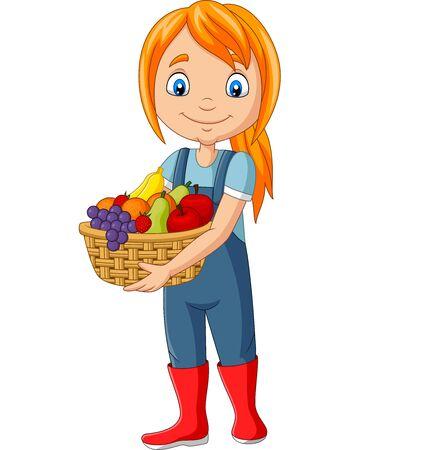 Vector illustration of Cute happy girl harvest fruit 向量圖像