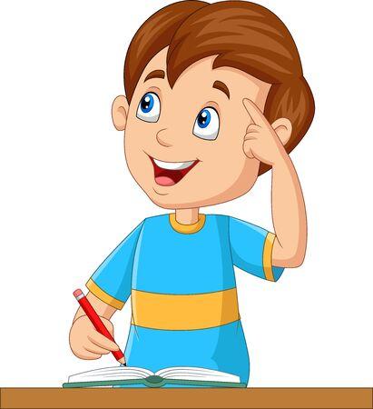 Vector illustration of Little boy having a good idea
