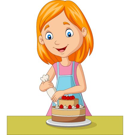 Vector illustration of Cartoon girl decorating a cake Imagens - 132291775