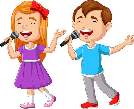 Vector illustration of Boy and girl singing with microphone Illustration