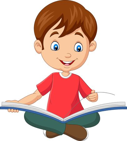 Vector illustration of Happy boy sitting with opened a book