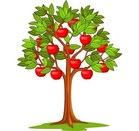 Cartoon apple tree isolated on white