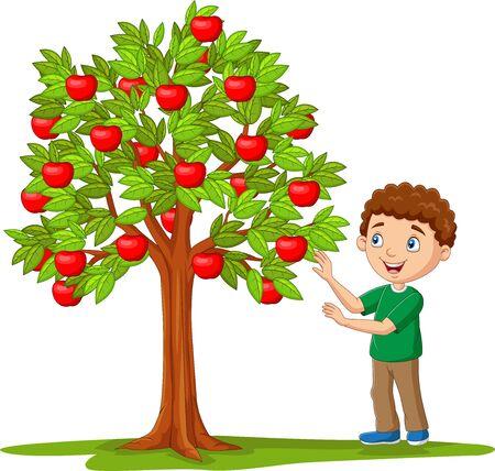 Vector illustration of Cartoon boy picking apples from apple tree