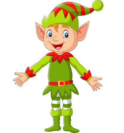 Vector illustration of Cartoon happy Christmas elf presenting