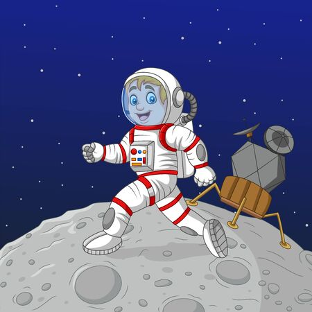 Vector illustration of Cartoon boy astronaut walking on the moon Vettoriali
