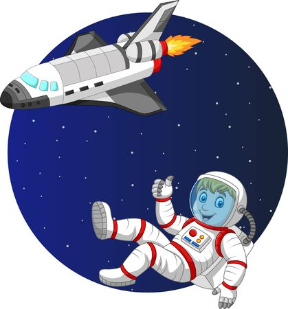 Vector illustration of Cartoon boy astronaut with space shuttle