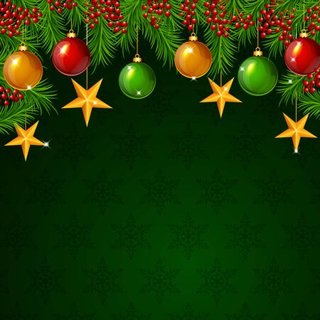 Vector illustration of Christmas background with fir branches and balls with stars