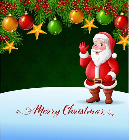 Vector illustration of Christmas background with Santa Claus waving hand