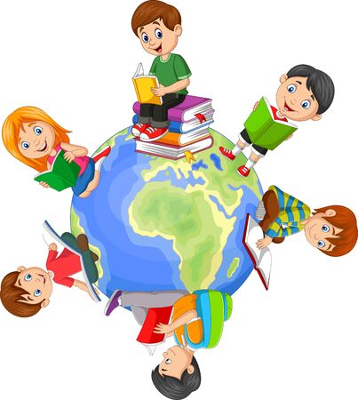 Vector illustration of Children reading book around the world