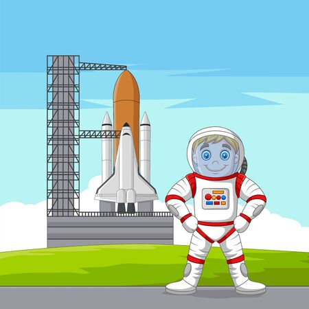 Vector illustration of Cartoon astronaut with spaceship ready to launch