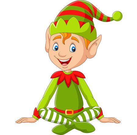 Vector illustration of Cartoon happy Christmas elf sitting