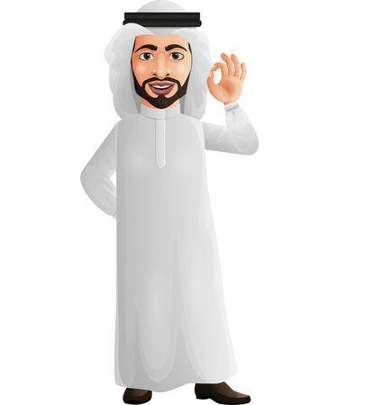 Vector illustration of Arab businessman showing OKAYOK sign