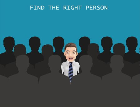 Vector illustration of Find the right person for the job concept