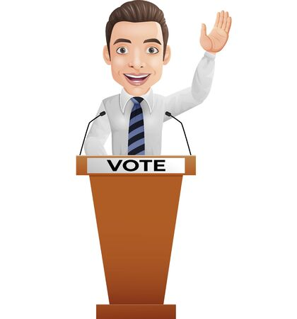 Vector illustration of Businessman speaker on presentation podium