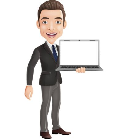 Vector illustration of Cartoon happy young businessman holding a laptop Illustration